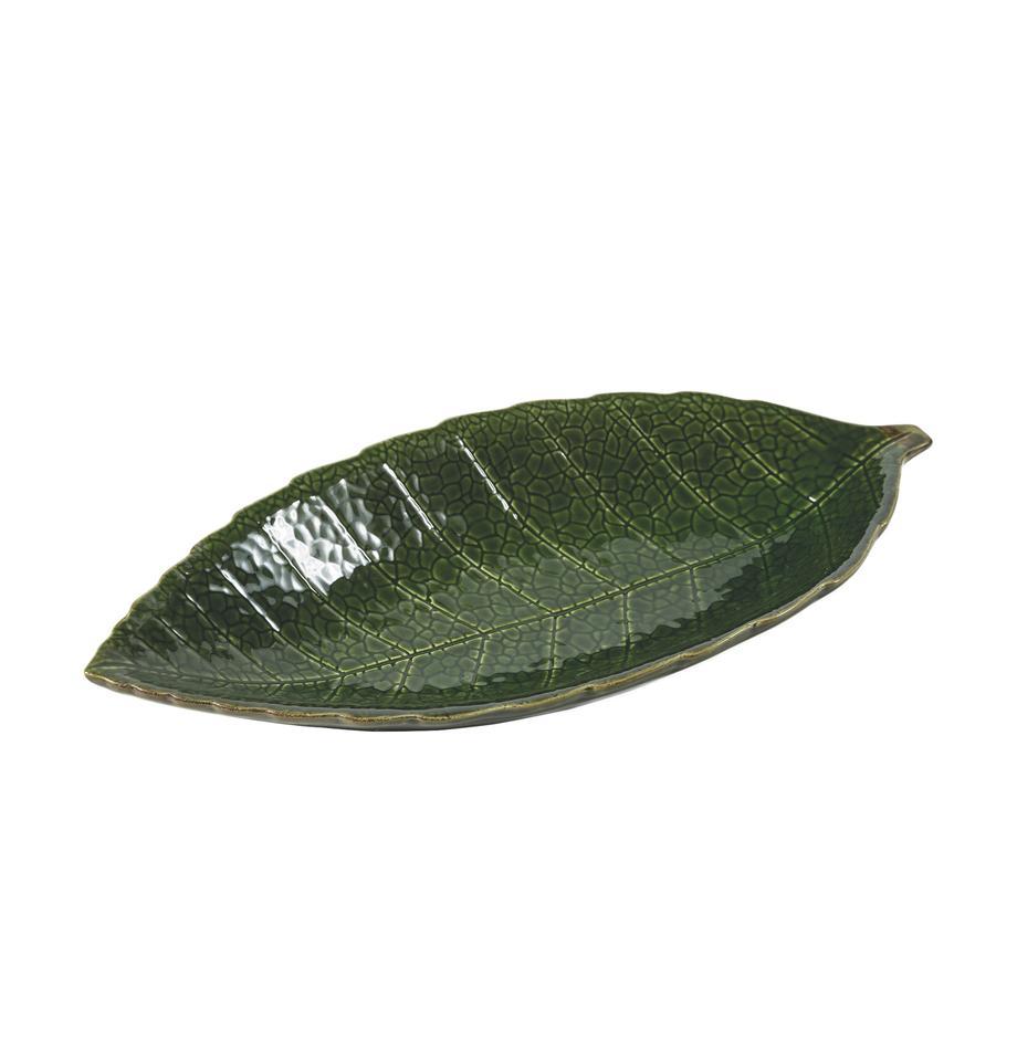 Servierschale Amazzonia in Blattform, B 16 x L 34 cm, Dolomit, Grün, 16 x 34 cm