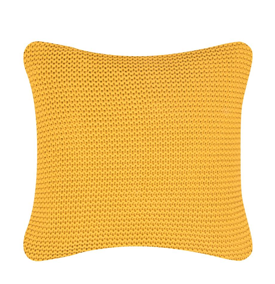 Gebreide kussenhoes Adalyn in geel, 100% katoen, Okergeel, 40 x 40 cm