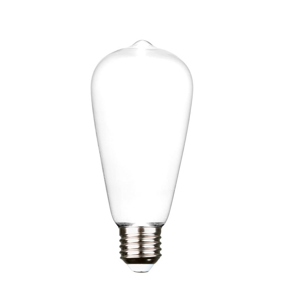 E27 peertje Ghost, 2.5 watt, warmwit, 1 stuk, Peertje: glas, Fitting: aluminium, Wit, aluminium, Ø 6 x H 15 cm