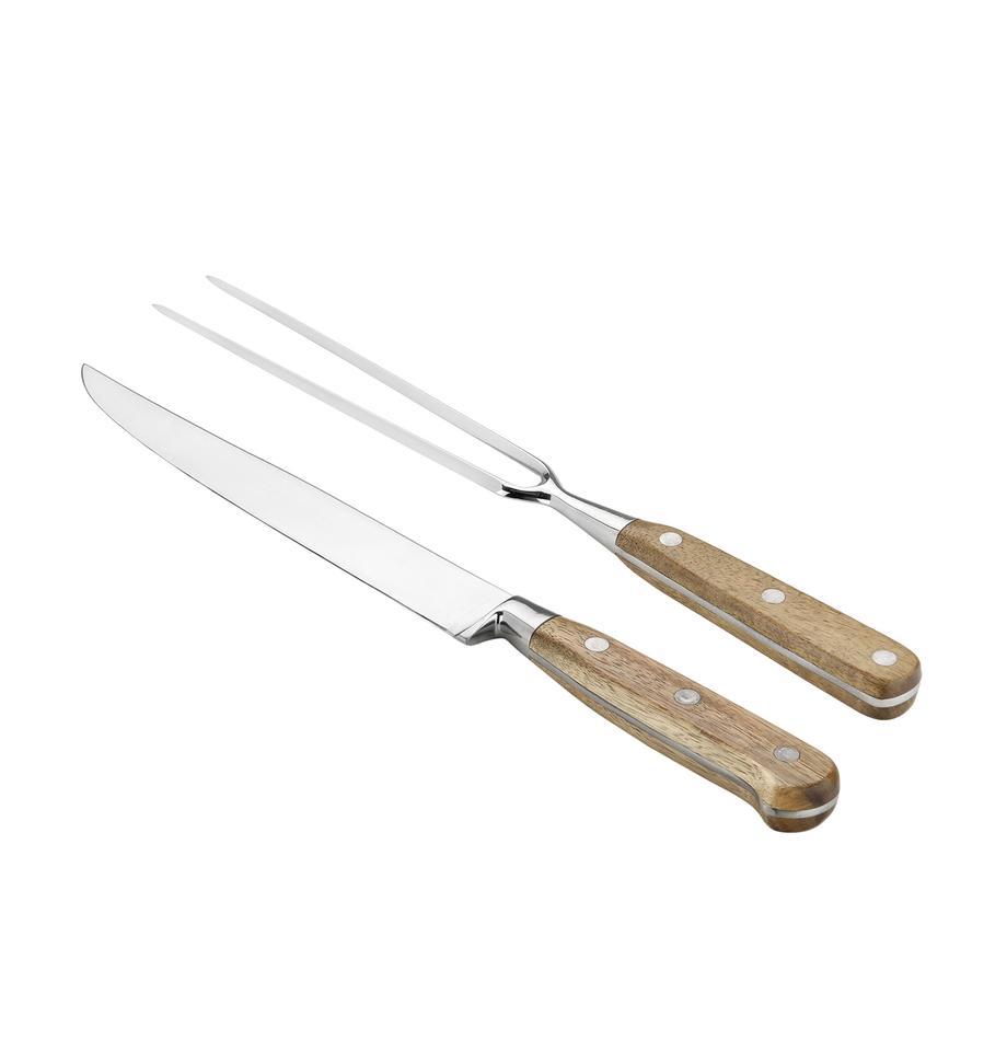 Komplet do krojenia mięsa Var, 2 elem., Drewno akacjowe, stal szlachetna, Komplet z różnymi rozmiarami