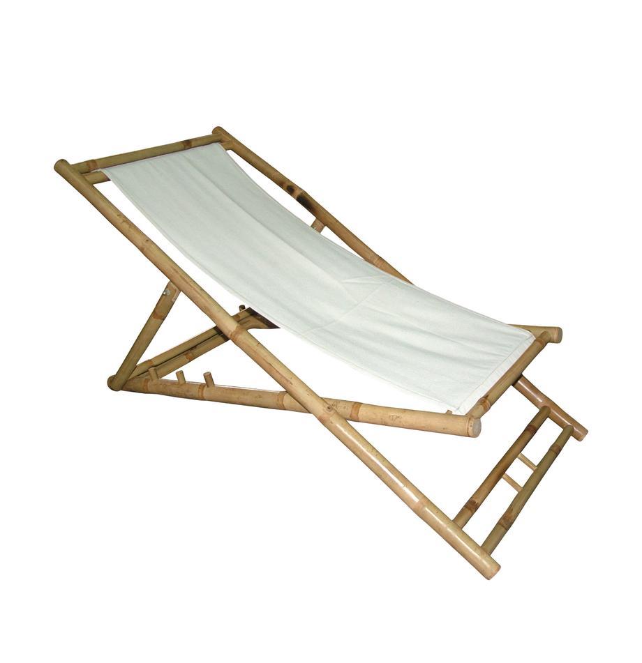 Klappbarer Bambus-Liegestuhl Bammina, Rahmen: Bambus, Weiß, 60 x 80 cm