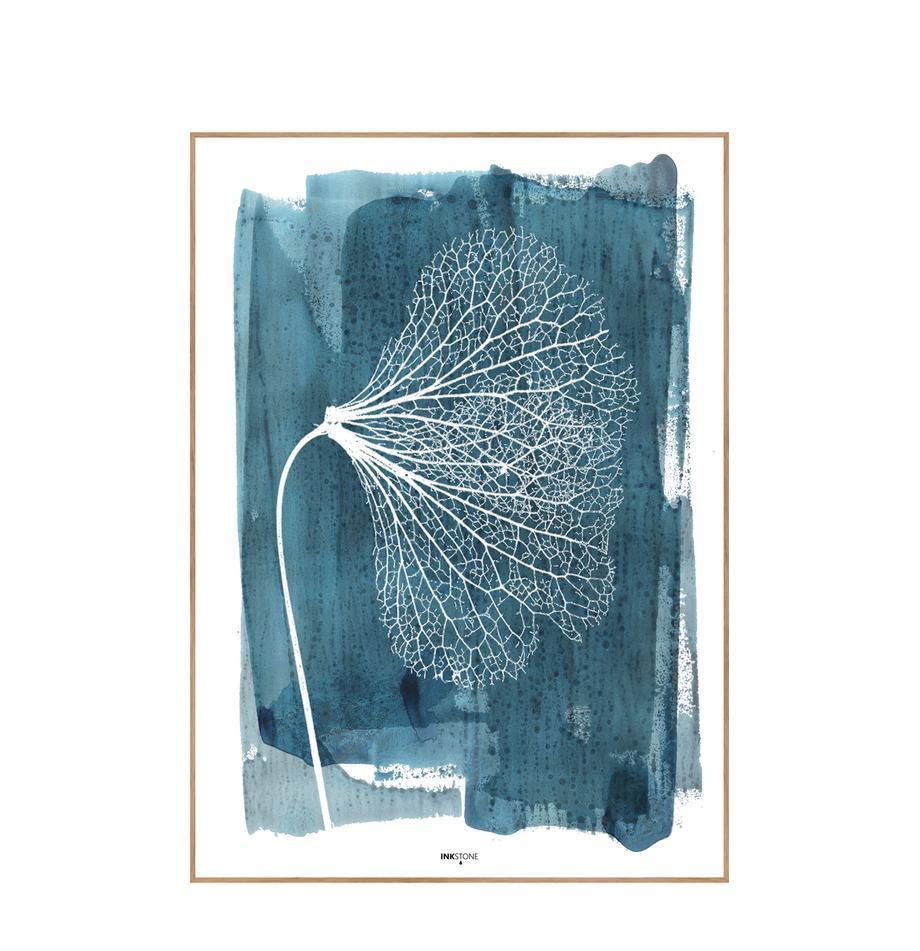 Gerahmter Digitaldruck White Ginko, Bild: Digitaldruck auf Papier (, Rahmen: Hochdichte Holzfaserplatt, Blau, Weiss, 30 x 40 cm