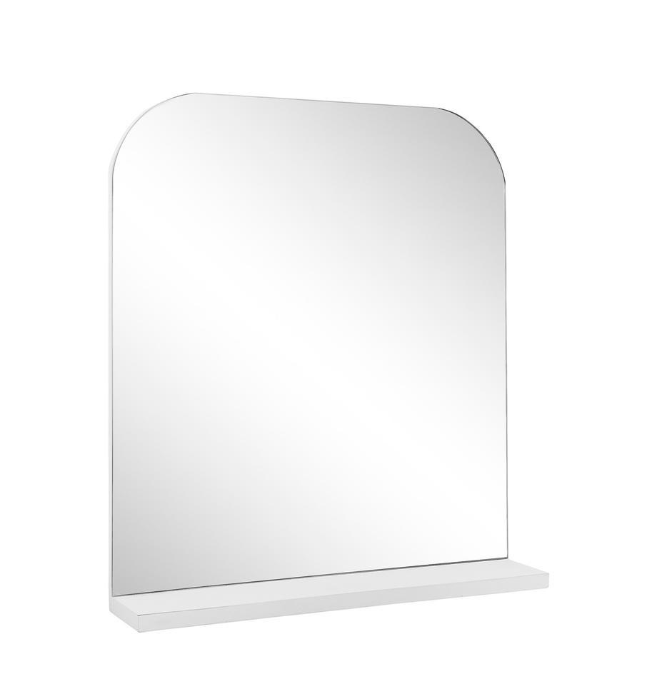 Espejo de pared Pina, con estante, Estante: madera, Espejo: cristal, Blanco, An 55 x Al 63 cm