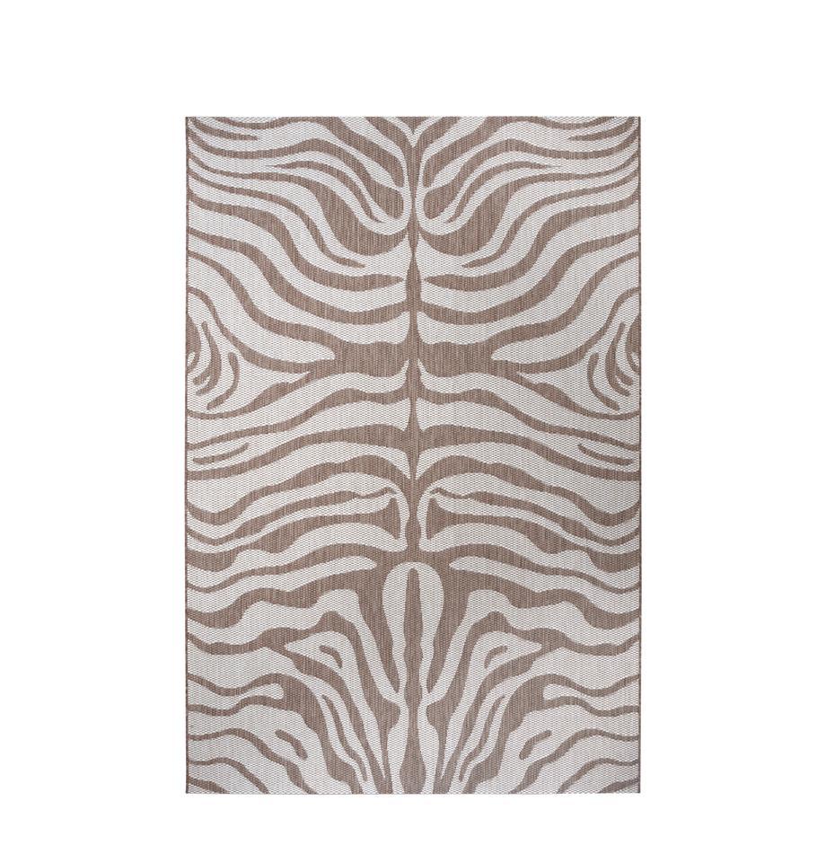 In- & Outdoor-Teppich Avin mit Zebramuster, 100% Polypropylen, Hellbraun, Cremeweiß, B 80 x L 150 cm (Größe XS)