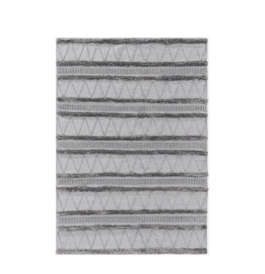 Ethno in- & outdoor vloerkleed Toni met hoog-laag structuur, 100% polyester (gerecycled PET), Grijs, B 80 x L 150 cm (maat XS)