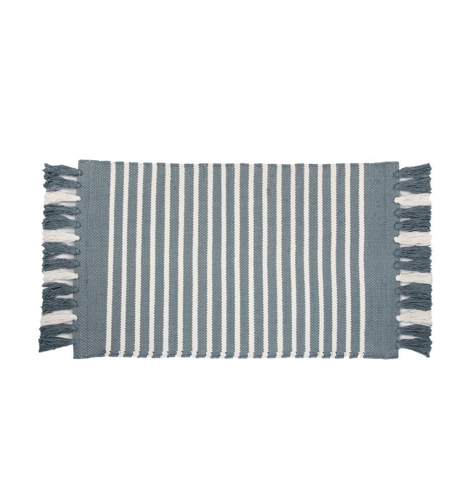 Alfombrilla de baño con flecos Stripes & Structure, 100%algodón, Azul, blanco crudo, An 60 x L 100 cm