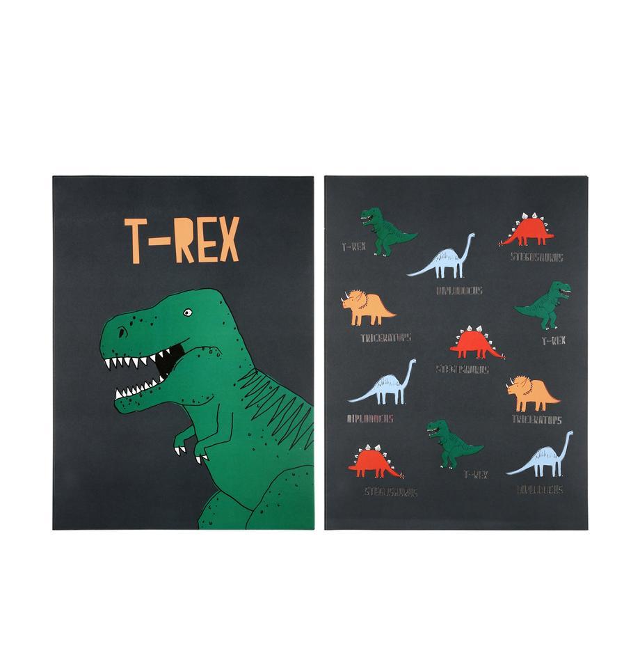 Poster-Set Dinosaur, 2-tlg., Digitaldruck auf Papier, 200 g/m², Grün, Grau, gelb, Rot, Blau, 31 x 41 cm