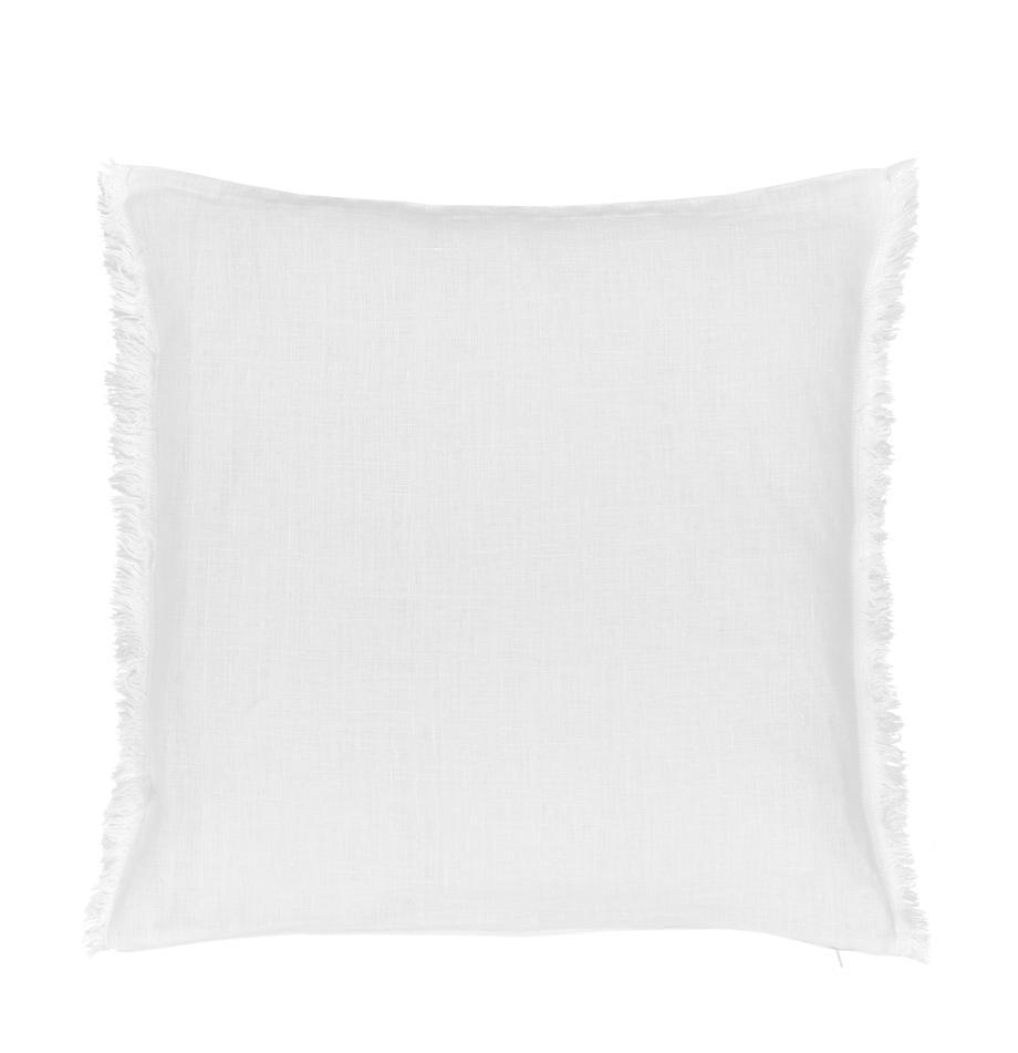 Poszewka na poduszkę z lnu z frędzlami Luana, 100% len, Kremowobiały, S 50 x D 50 cm