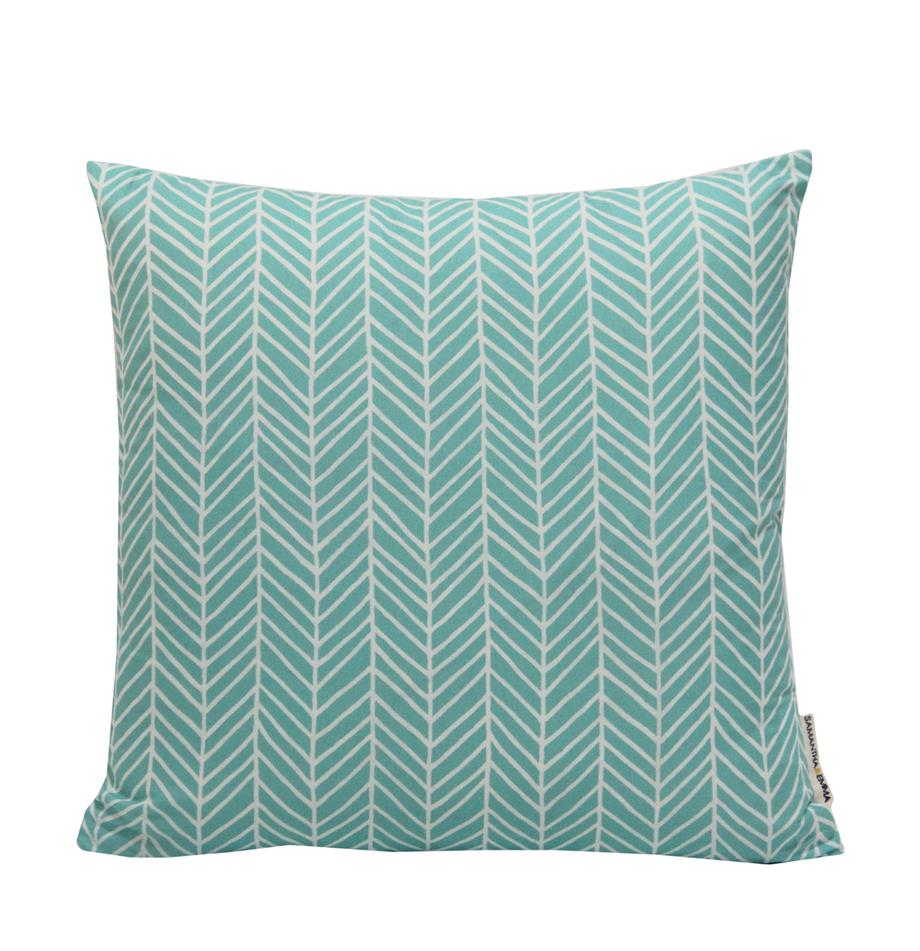 Gemusterte Kissenhülle Elias, 100% Polyester, Weiß, Blau, 40 x 40 cm