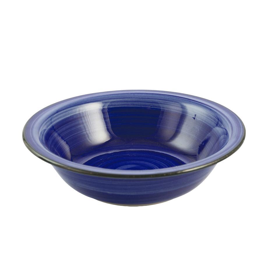 Platos hondo artesanal Baita, 6uds., Gres (dolomita) pintadoamano, Azul, Ø 22 cm
