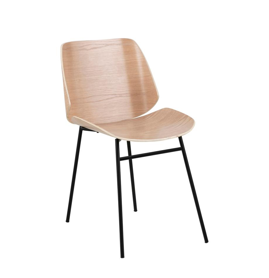 Holzstühle Aks, 2 Stück, Sitzfläche: Eichenholzfurnier, lackie, Beine: Metall, pulverbeschichtet, Eiche, B 59 x T 47 cm