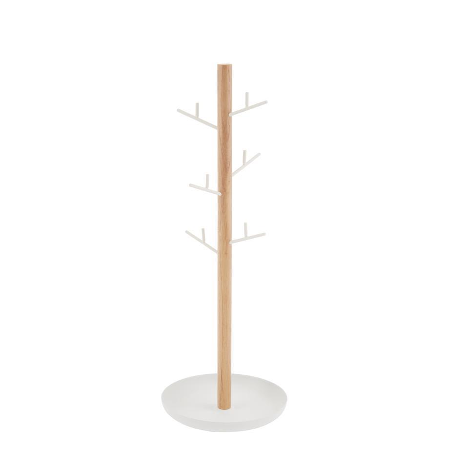 Schmuckhalter Tosca, Stange: Holz, Weiss, Braun, 13 x 36 cm
