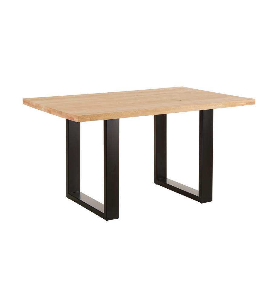 Stół do jadalni  z  blatem z litego drewna Oliver, Blat: dzikie lite drewno dębowe, Nogi: stal lakierowana matowo, drewno dębowe, S 140 x G 90 cm