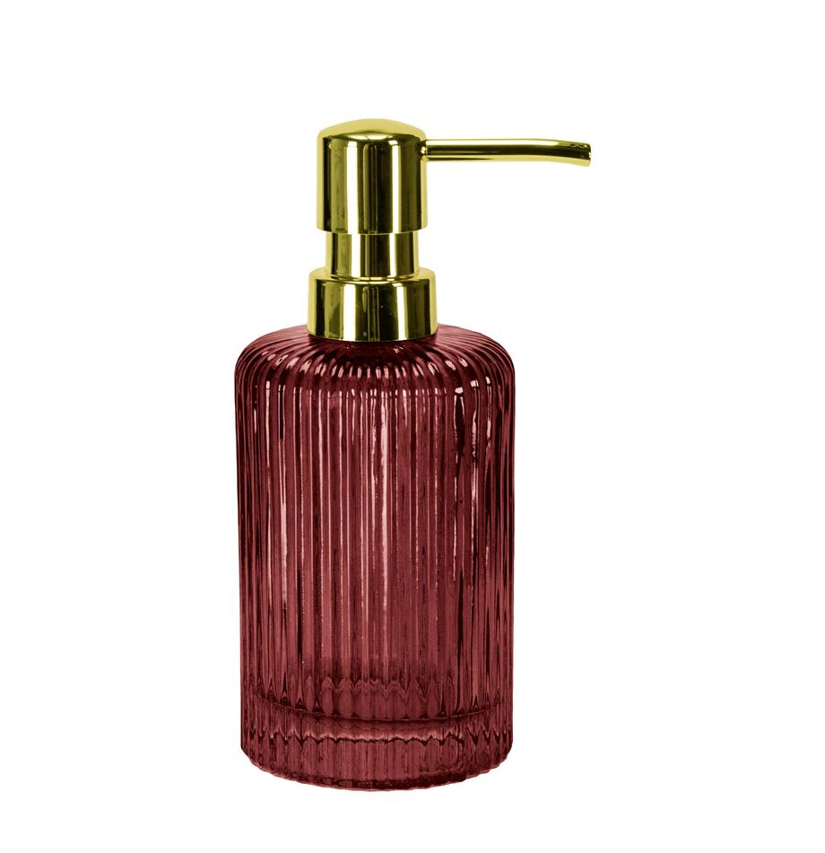 Dozownik do mydła ze szkła Antoinette, Czerwony, transparentny, Ø 8 x W 17 cm