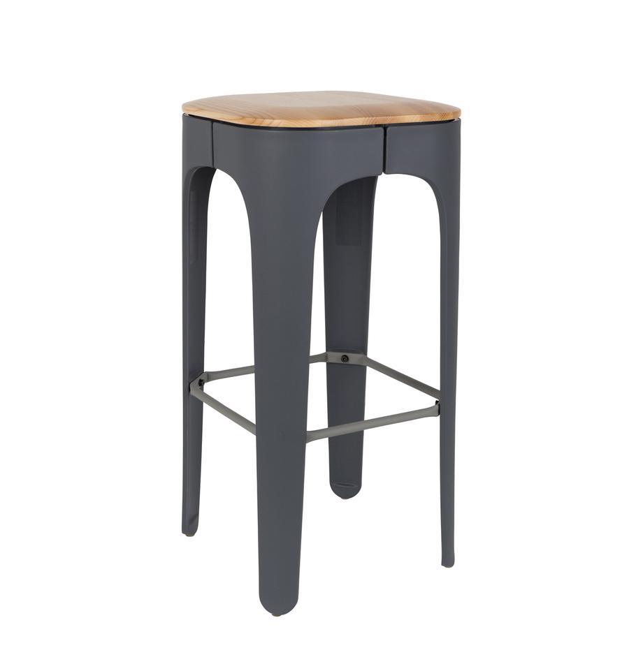 Stołek barowy Up-High, Nogi: polipropylen matowy, laki, Siedzisko: drewno jesionowe Nogi: ciemnyszary Podnóżek: ciemnyszary, S 35 x W 73 cm