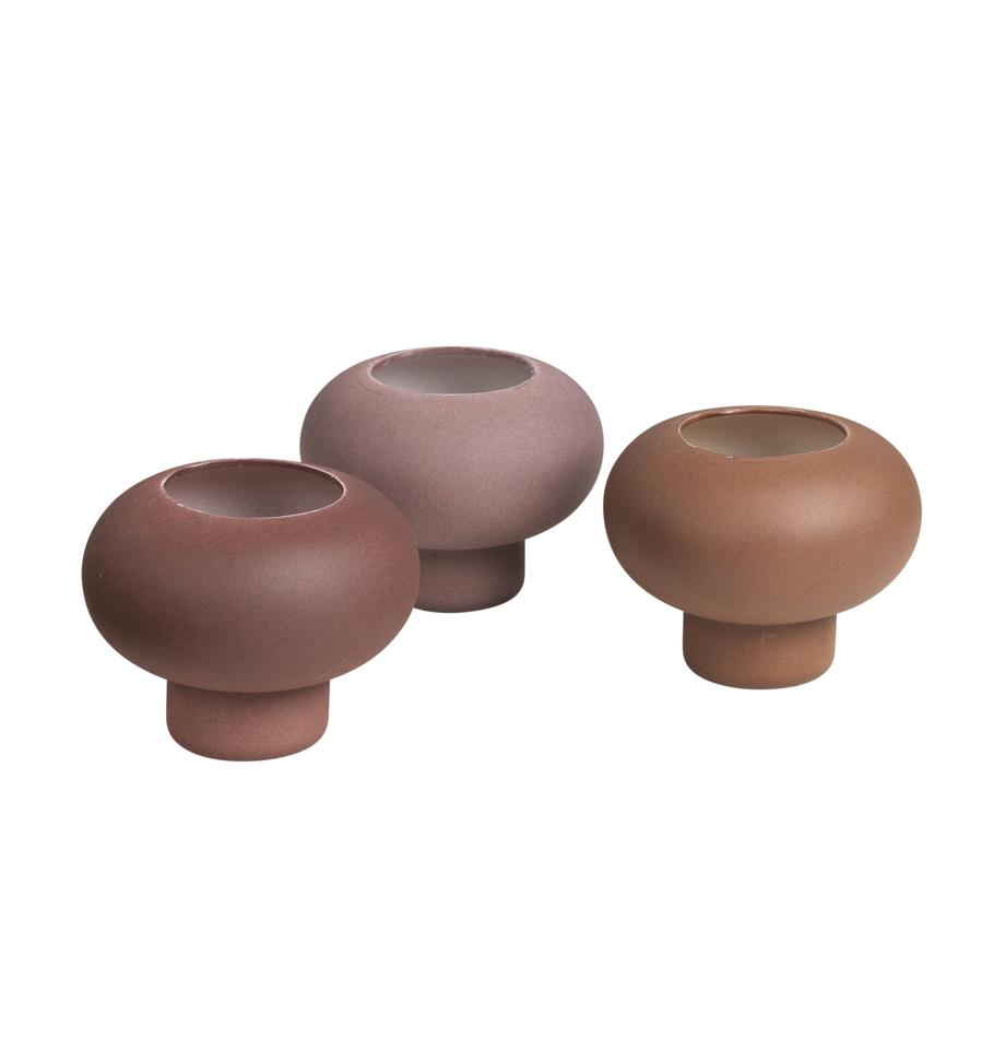 Set 3 portalumini Agate, Porcellana, Rosa cipria, viola, marrone, Ø 9 x Alt. 7 cm