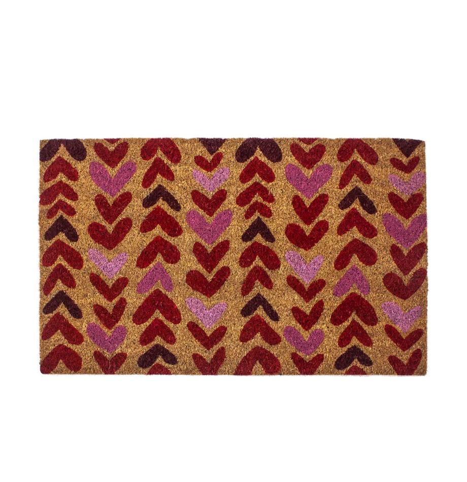 Fussmatte Heartwood, Oberseite: Kokosfasern, Unterseite: PVC, Beige, Rot, Pink, 43 x 70 cm