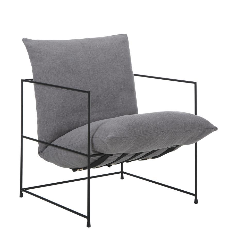 Sedia a poltrona con struttura in metallo Wayne, Rivestimento: 80% poliestere, 20% lino , Struttura: metallo verniciato a polv, Tessuto grigio, Larg. 69 x Prof. 74 cm