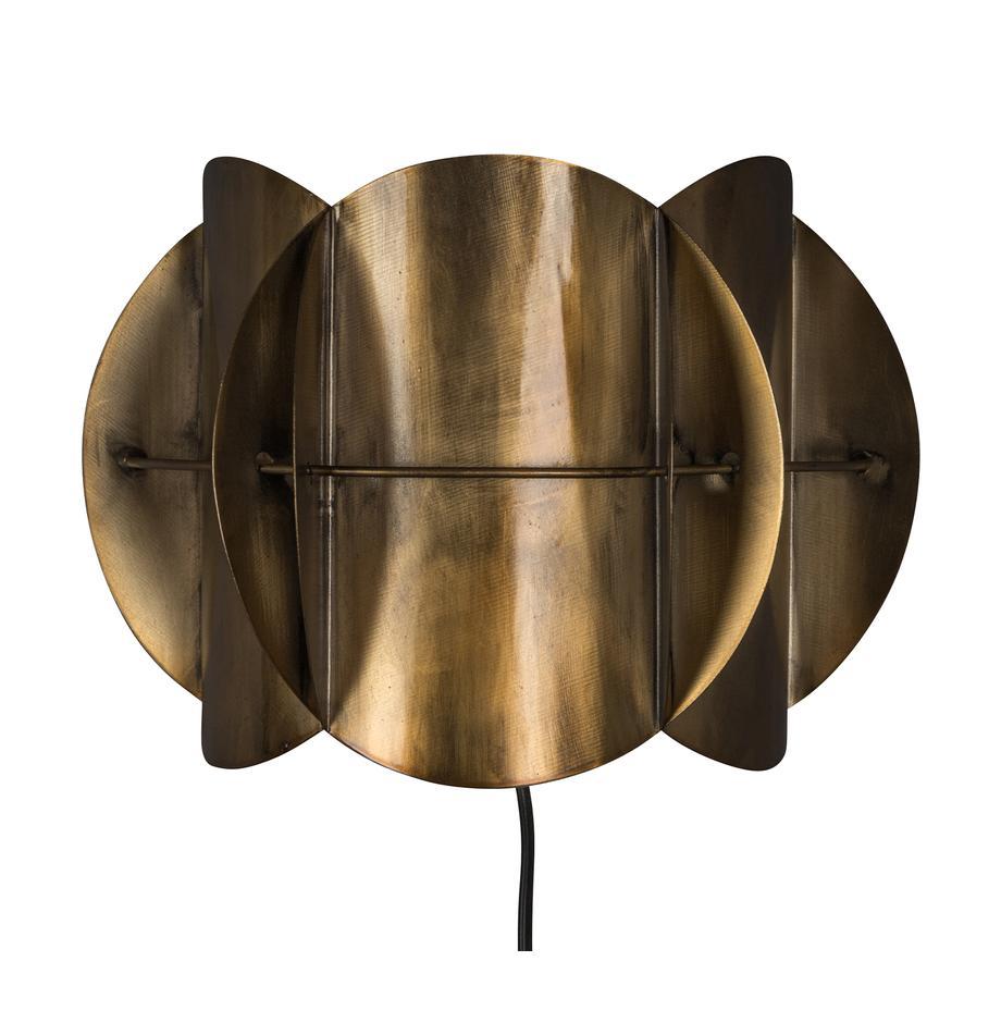 Design wandlamp Corridor met stekker, Lampenkap: messing, Messingkleurig met antieke afwerking, 27 x 19 cm