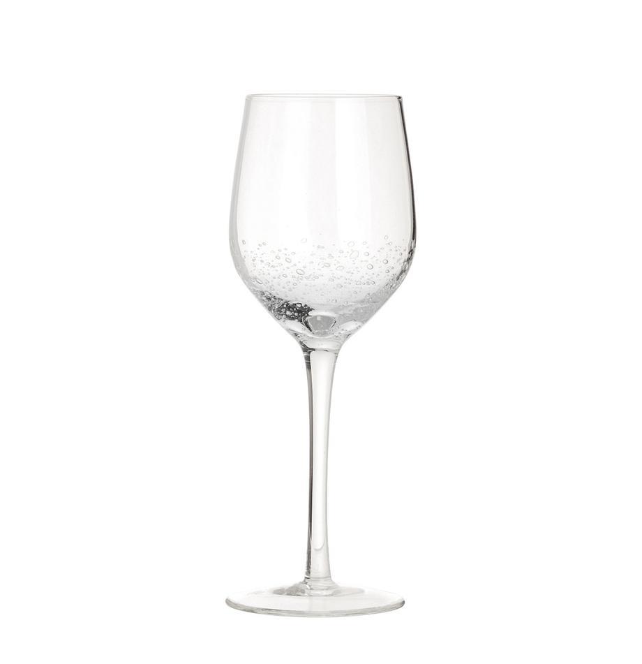 Mundgeblasene Weissweingläser Bubble mit Lufteinschlüssen, 4er-Set, Glas, mundgeblasen, Transparent mit Lufteinschlüssen, Ø 8 x H 21 cm