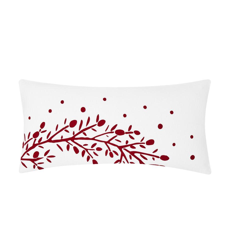 Flanell-Kissenbezüge Mistletoe, 2 Stück, Webart: Flanell Flanell ist ein s, Weiss, Rot, 40 x 80 cm