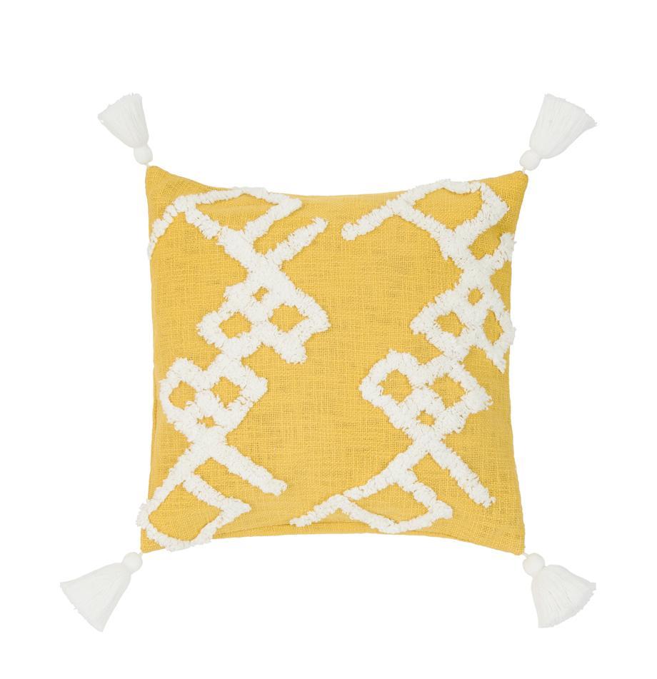 Kissenhülle Tikki mit getufteter Verzierung, 100% Baumwolle, Gelb, 40 x 40 cm