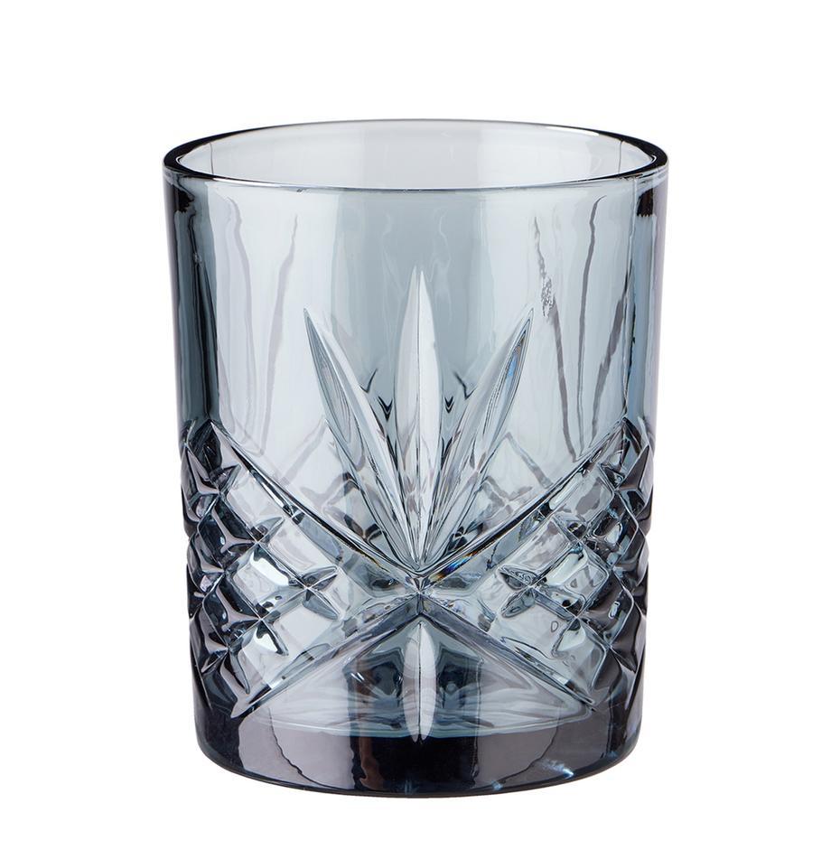 Gläser Crystal Club in Graublau mit Kristallrelief, 4 Stück, Glas, Graublau, Ø 8 x H 10 cm