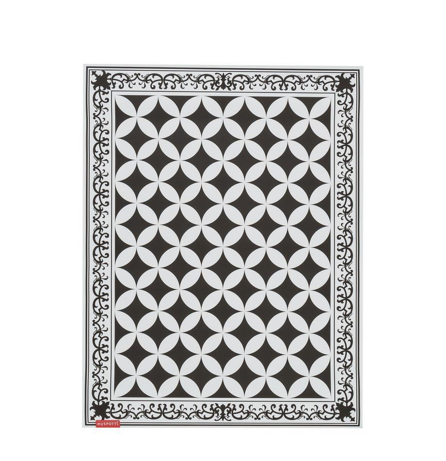 Vlakke vinyl vloermat Chadi in zwart en wit, antislip, Recyclebaar vinyl, Zwart, wit, 65 x 85 cm
