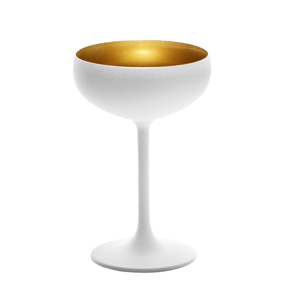 Kristall-Champagnerschalen Elements in Weiß/Gold, 6 Stück, Kristallglas, beschichtet, Weiß, Messingfarben, Ø 10 x H 15 cm