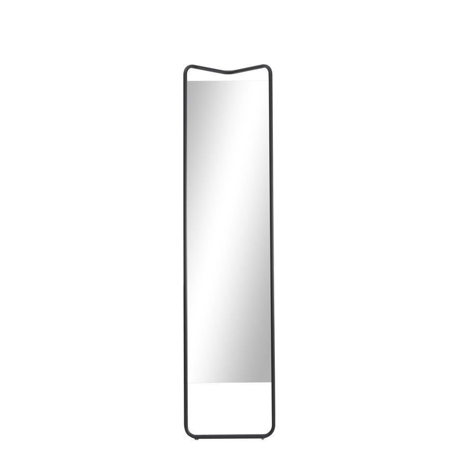 Specchio d'appoggio con cornice nera Kasch Kasch, Cornice: alluminio verniciato a po, Superficie dello specchio: lastra di vetro, Nero, Larg. 42 x Alt. 175 cm