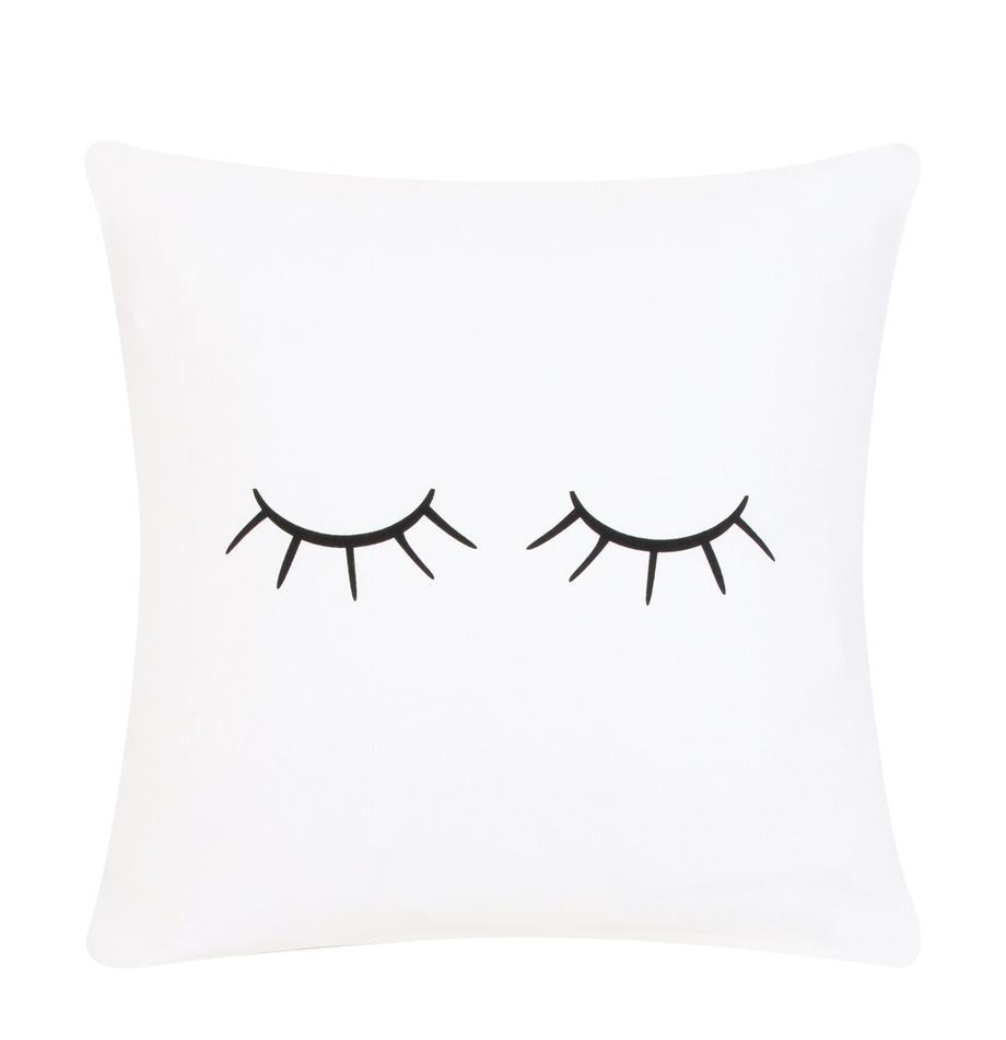 Funda de cojín Sleepy Eyes, Blanco, negro, An 40 x L 40 cm