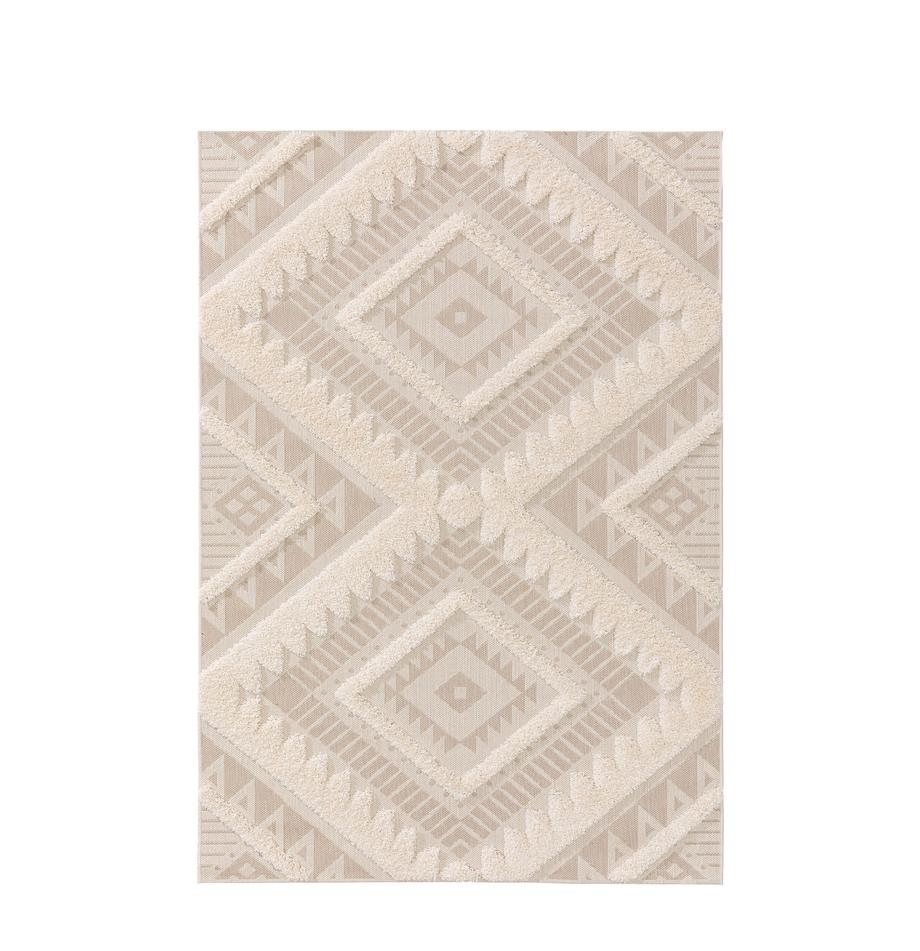 Tappeto da interno-esterno con motivo a rilievo Carlo, 100% polietilene, Beige, crema, Larg. 80 x Lung. 150 cm (taglia XS)