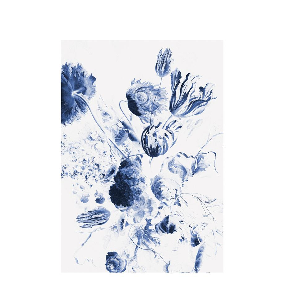Fototapete Royal Blue Flowers, Vlies, umweltfreundlich und biologisch abbaubar, Blau, Weiss, matt, 196 x 280 cm