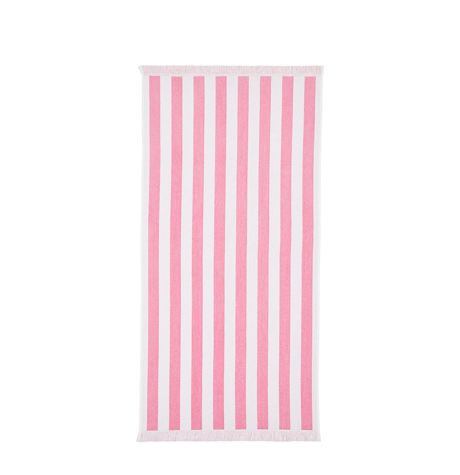 Gestreiftes Strandtuch Mare, 100% Baumwolle leichte Qualität 380 g/m², Pink, Weiss, 80 x 160 cm