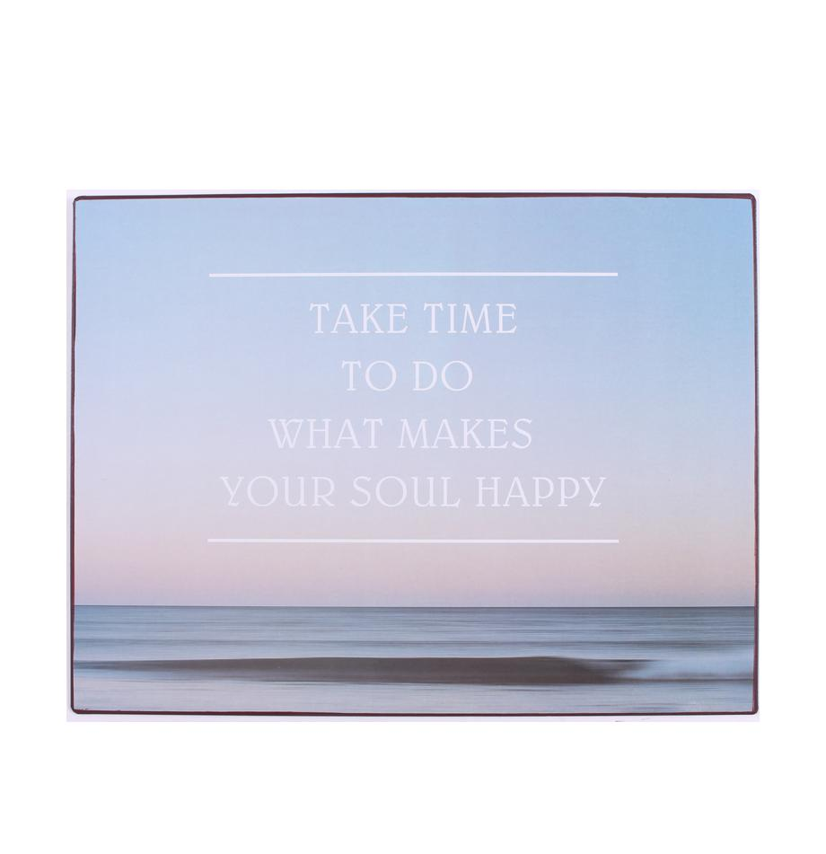 Insegna a muro Take time to do what..., Metallo rivestito, Blu, multicolore, Larg. 27 x Alt. 35 cm