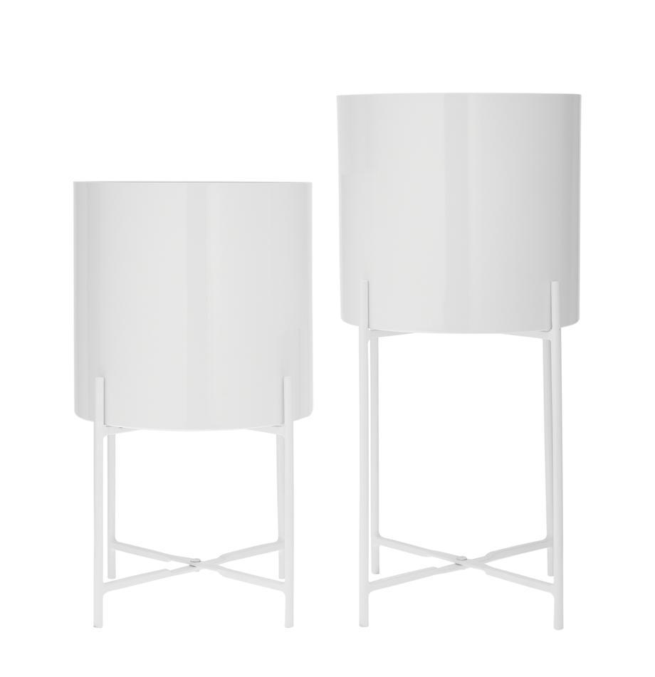 Set 2 portavasi in metallo bianco Mina, Metallo verniciato a polvere, Bianco opaco, Set in varie misure