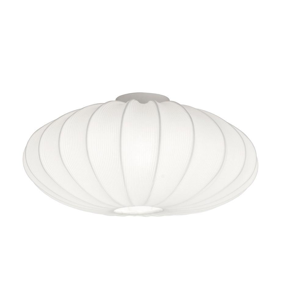 Lampa sufitowa Mamsell, Metal, tkanina, Biały, Ø 55 x W 28 cm