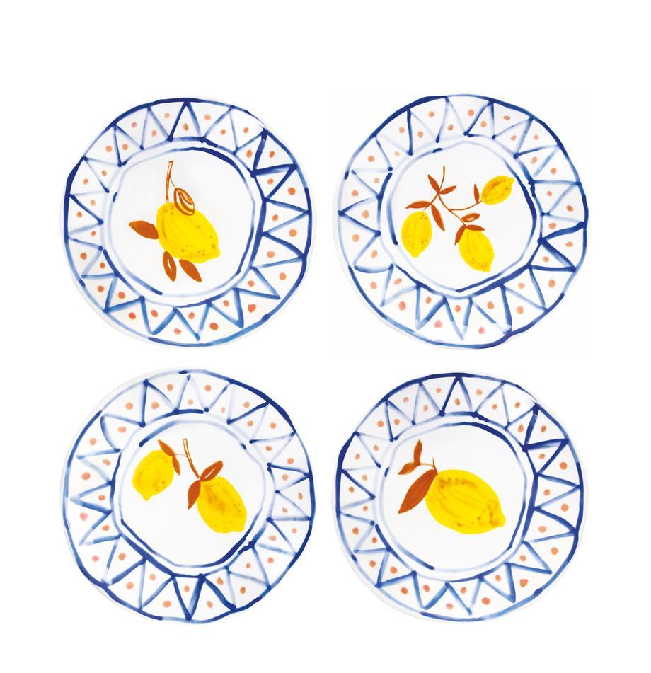 Komplet talerzy Rafika, 4 elem., Kamionka, Biały, niebieski, pomarańczowy, żółty, Ø 16 cm