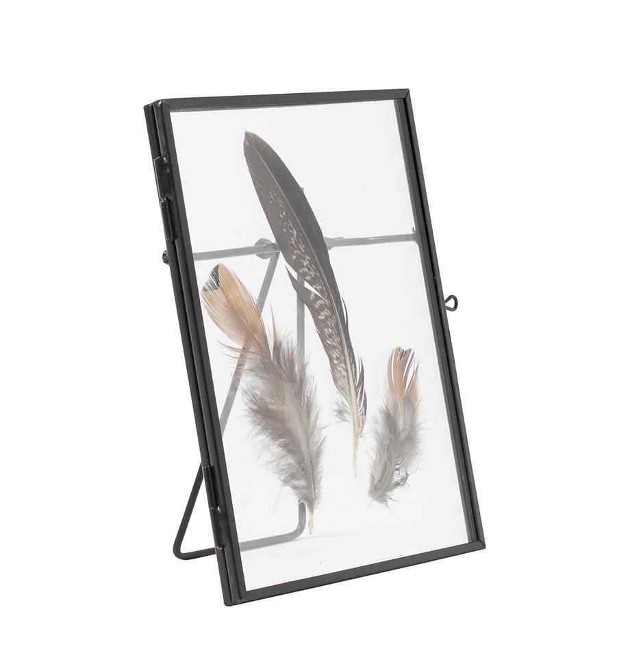 Bilderrahmen Pioro mit Federn, Rahmen: Metall, beschichtet, Front: Glas, Schwarz, Transparent, 13 x 18 cm