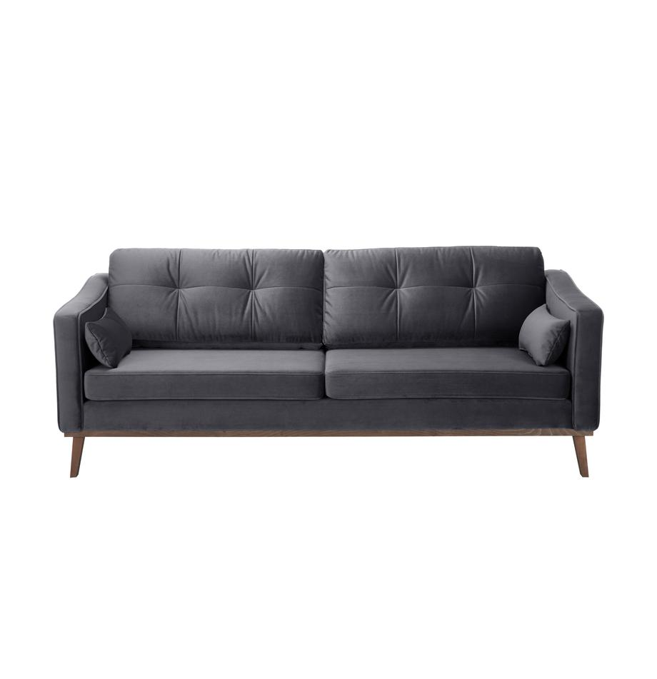 Samt-Sofa Alva (3-Sitzer), Bezug: Samt (Hochwertiger Polyes, Gestell: Massives Kiefernholz, Füße: Massives Buchenholz, gebe, Samt Dunkelgrau, B 215 x T 92 cm
