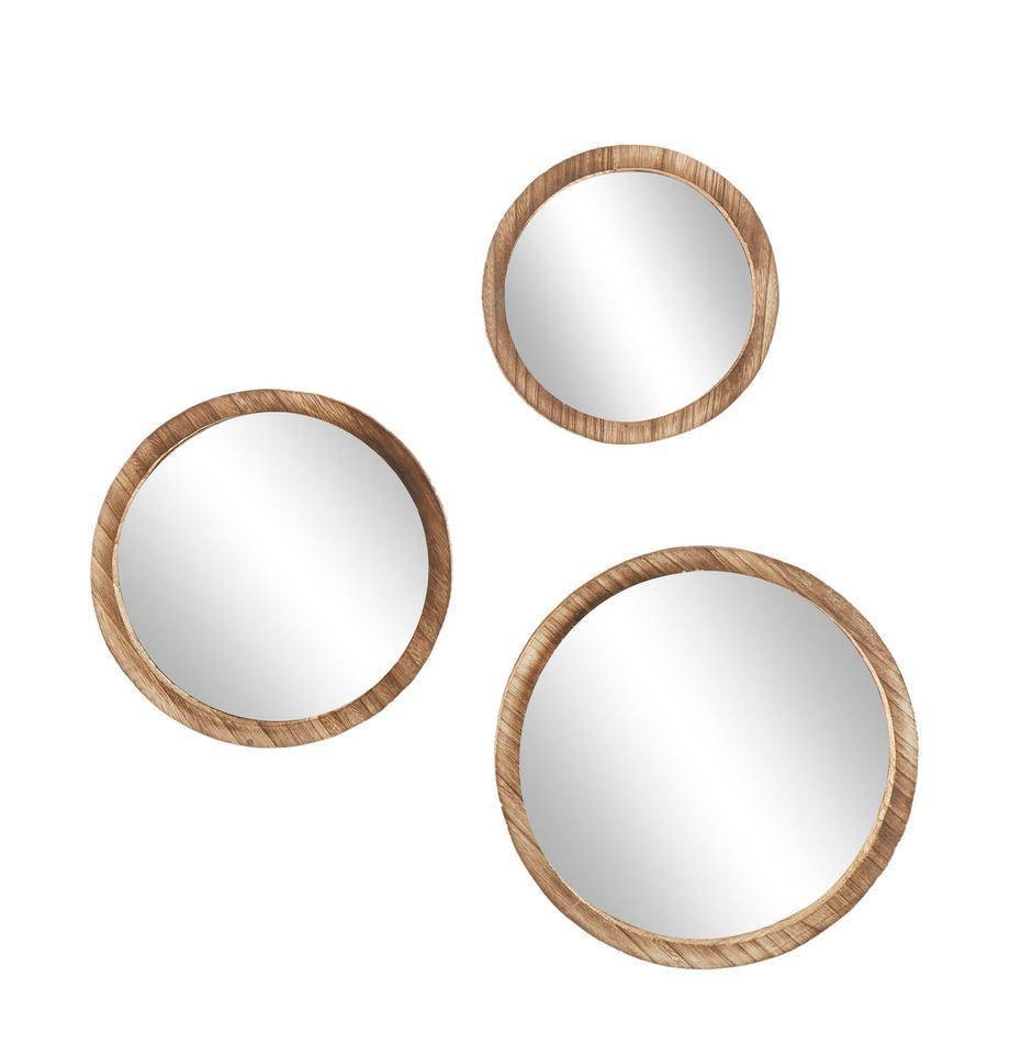 Wandspiegel-Set Jones mit Paulowniaholz-Rahmen, 3-tlg., Rahmen: Paulowniaholz, Spiegelfläche: Spiegelglas, Braun, Set mit verschiedenen Grössen
