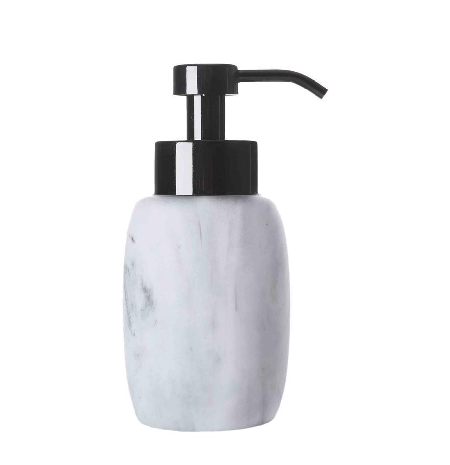 Dosificador de jabón Marblis, Recipiente: poliresina, Dosificador: acero inoxidable, pintado, Blanco, Ø 7 x Al 18 cm