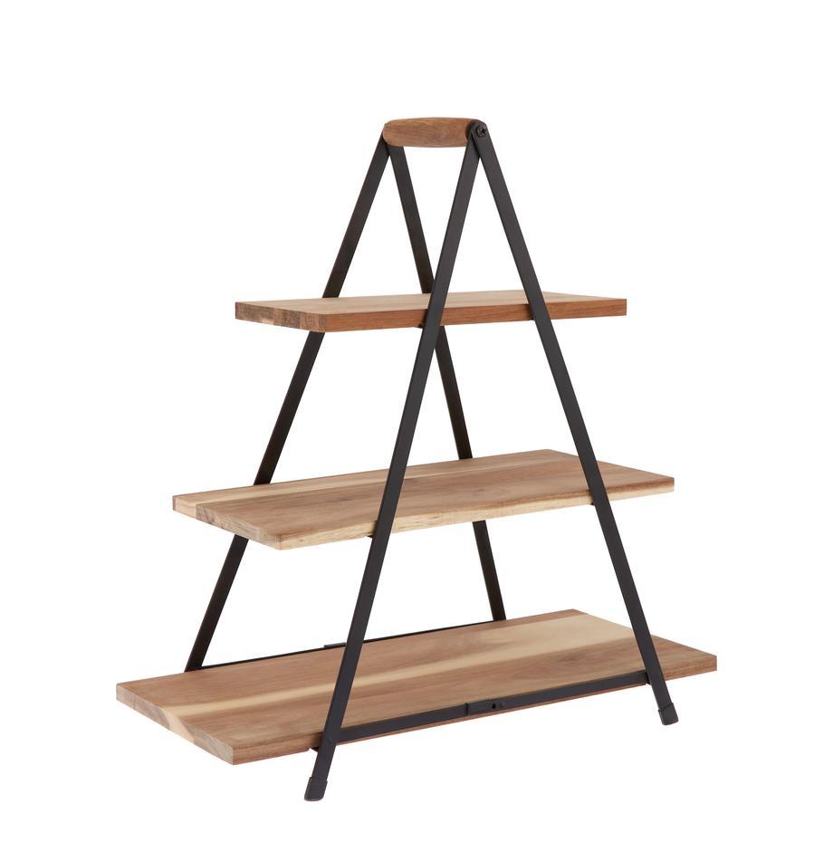 Fuente 3 pisos de madera de mango Serve, Estantes: madera de acacia, Patas: metal pintado, Marrón, An 50 x Al 54 cm