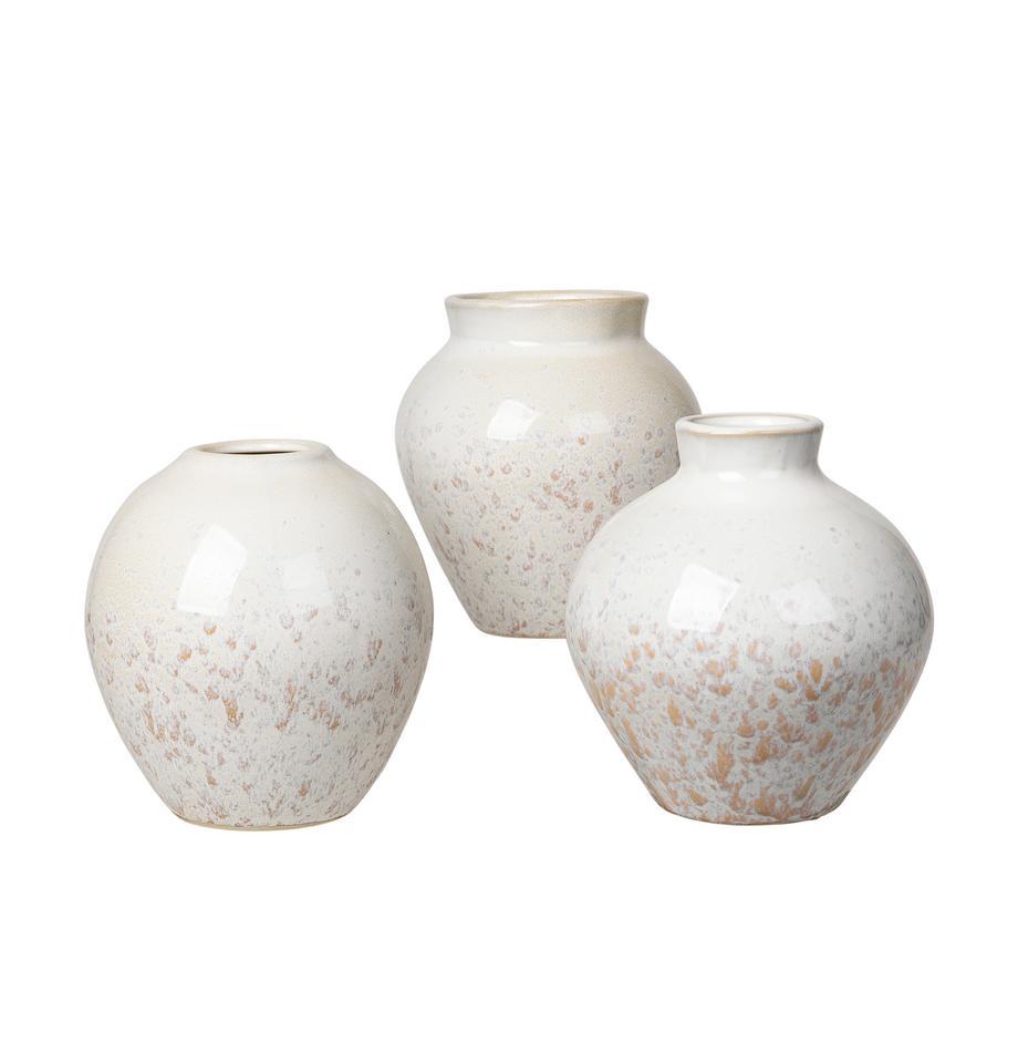Vasen-Set Ingrid aus Keramik, 3-tlg. , Keramik, Weiss, Beigetöne, Ø 14 x H 15 cm