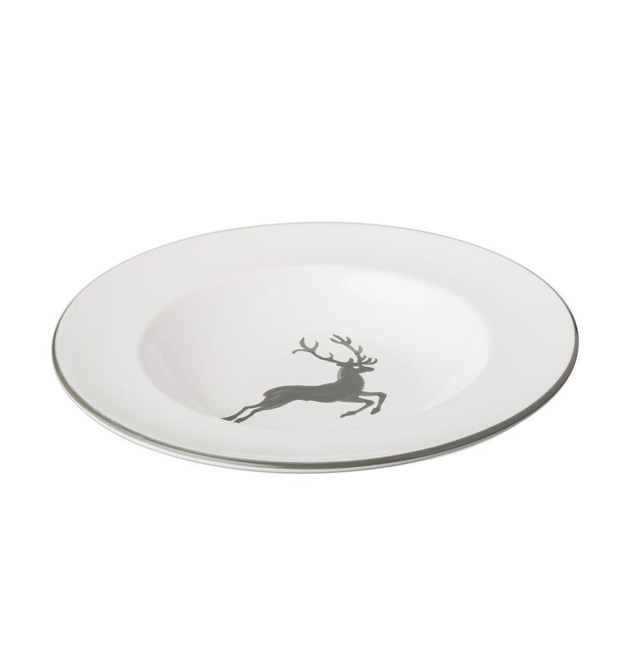 Handbeschilderd soepbord Gourmet Grey Deer, Keramiek, Grijs, wit, Ø 24 cm