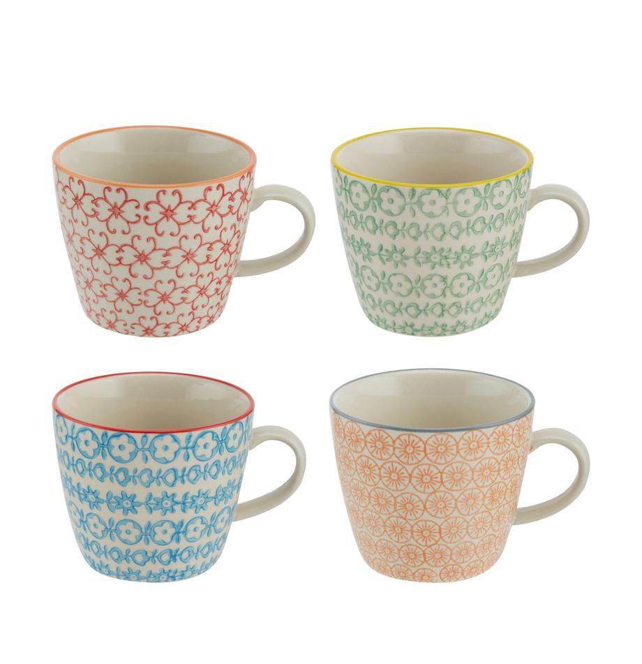 Tassen Carla mit kleinem Muster, 4er-Set, Steingut, Weiss, Schwarz, Gelb, Rot, Orange, Ø 10 x H 8 cm