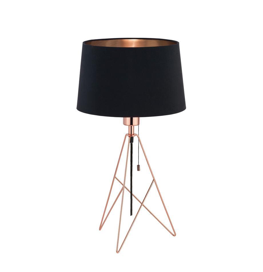 Grote tafellamp Camporale in koper, Lampvoet: gelakt staal, Zwart, koperkleurig, Ø 30 x H 56 cm