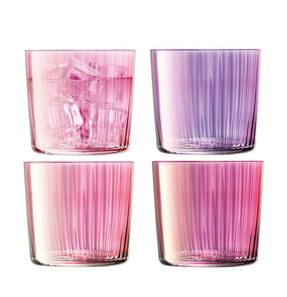 Vasos de colores con relieve de vidrio soplado artesanalmente Gemas, 4uds., Vidrio soplado artesanalmente, Tonos rosas y lilas, Ø 8 x Al 7 cm
