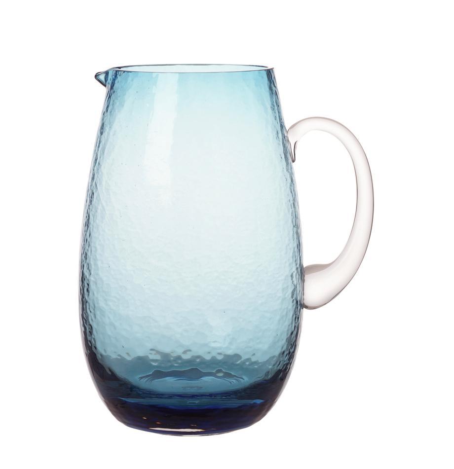 Großer mundgeblasener Krug Hammered mit gehämmerter Oberfläche, 2 L, Glas, mundgeblasen, Blau, transparent, Ø 14 x H 22 cm