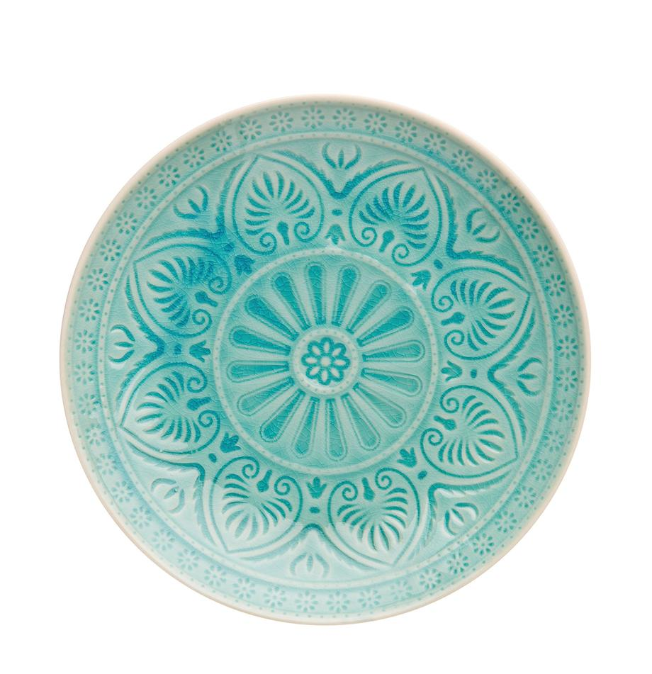 Handbemalter Speiseteller Sumatra in Türkis, Steingut, Türkis, Ø 25 cm